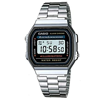 Casio A168WA-1YES – Reloj , correa de acero inoxidable chapado color metalizado