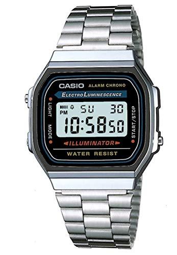 CASIO A168WA-1YES Uhr Herrenuhr Edelstahl Resin 30m Digital Datum Licht Alarm schwarz (Edelstahl Aus Uhren G-shock)