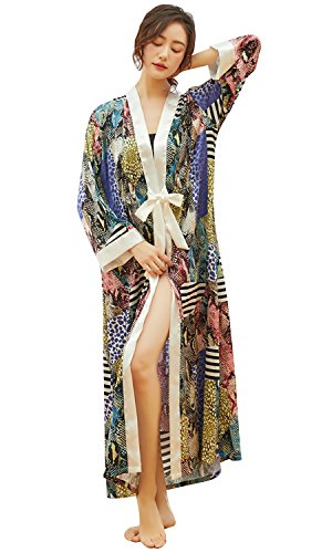 Dolamen Damen Morgenmantel Kimono, Satin Nachtwäsche Bademantel Robe mit Blumenblüten Kimono Negligee Seidenrobe locker Schlafanzug Langer Stil & 2018 Stil (Fehlschlag Breite: 112cm, Grün) -