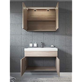 Badplaats B.V. Bathroom furniture set Paso 02 80cm basin sonoma oak - Mirror storage cabinet vanity unit sink furniture