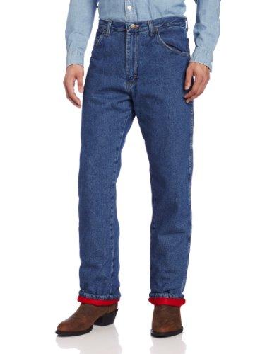 Wrangler Rugged Wear Men's Woodland Thermal Jean ,Stonewashed Denim,42x34 (Woodland Thermal)
