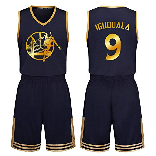 WLDSH Basketball-Teamuniform NBA Warriors 9 Iguodala-Trikot kurzärmeliges T-Shirt für Erwachsene Kids Basketball-Shorts für Kinder, Sportanzug (Farbe : Schwarz, größe : S) -