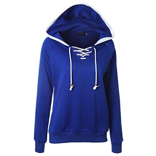 Zhiyuanan Donna Colore Solido Vello Felpa Slim Maniche Lunghe Coulisse Hooded Pullover Maniche Raglan Collage Sweatshirt Con Cappuccio Treasure Blu