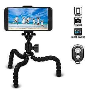 VIUME Mini Trépied Flexible,Trépieds Octopus Portable à 360 Degrés de avec Télécommande Bluetooth pour iPhone Android Smartphone GoPro Appareil Photo