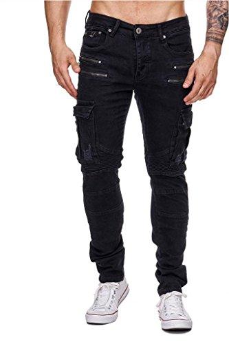Herren Jeans · (Skinny Fit) Dunkle Jeanshose im Biker Stil mit Cargo Taschen, Dark Colored Jeans aus Stretch Denim mit schmal zulaufendem Bein (Tapered Leg) · H1555 von One Public Schwarz