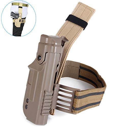 Gexgune Chasse Militaire Tactique Militaire Holster Droite Gauche Jambe Cuisse Verrouillage Pistolet Holster pour Glock 17 18 19 22 (2 Couleurs en Option)
