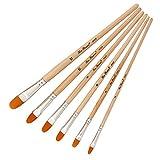 HshDUti 6 Stücke Weichen Pinsel Set Nylon Haar Holz Runde Flache Spitze Ende Malwerkzeug 3#