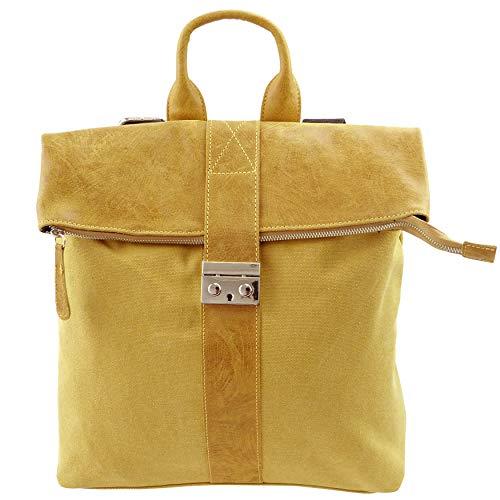 Ital. Canvas Echtleder Rucksack Leichter Tagesrucksack Daypack Lederrucksack Damenrucksack versch. Farben erhältlich (Gelb)