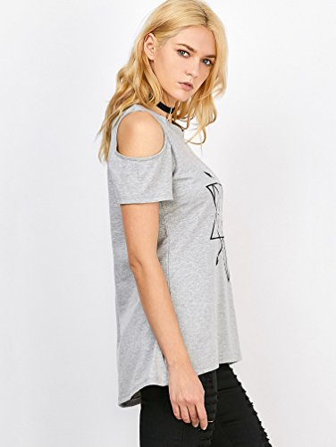 YuanDian Femme Ete Casual Loose Col Rond Manche Courte Géométrique Imprimé Bustier T Shirt élégant Mode Large Epaule Nu Tee Shirt Top Gris