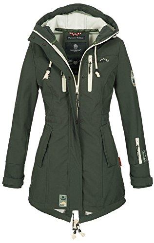 Marikoo Damen Winter Jacke Winterjacke Mantel Outdoor wasserabweisend Softshell B614 [B614-Zimt-Grün-Gr.M]