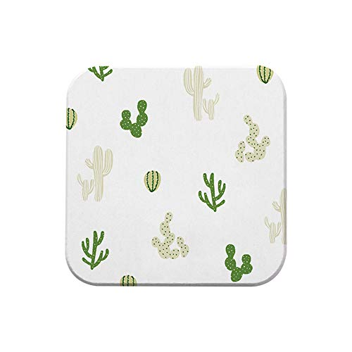 ZCHPDD Waterproof and Easy to Dry Coaster Kitchen Supplies Diatom Mud Material Square Coaster Cactus 10 * 10 * 0.9Cm*6Pcs (Kind Trinken Coaster)