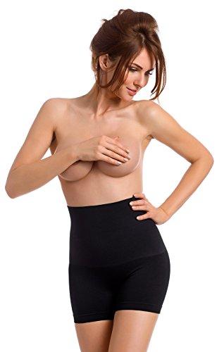 TESPOL figurformende hochtaillierte Damen-Shaping-Panty seamless mit Anti-Cellulite made in Italy Schwarz