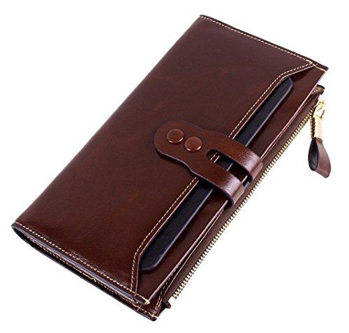 LH SAIERLONG Damen Passport-Geldbeutel- Kaffee Wax Echtes Leder Brieftasche