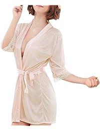 2ceac1a29f Sidiou Group Vestaglia Kimono Donna Elegante Pigiama Vestaglia Raso Corta Camicie  da Notte per Donna Accappatoio