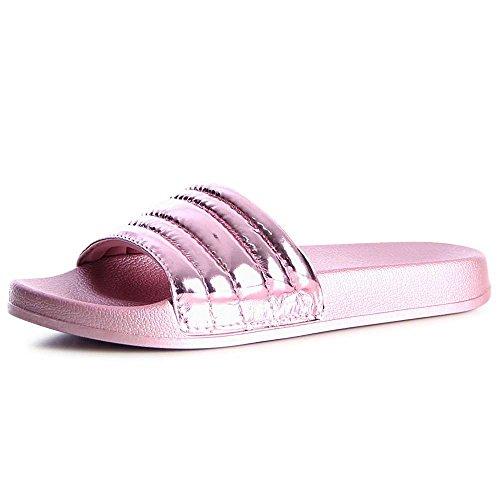 Damen Badeschuhe Pantoletten Sandalen Plateau 1177 Pink