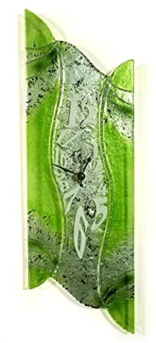 Designer Wanduhr aus Glas grün / verde - Glasuhr - Sehr Hochwertig - Handarbeit Europa exklusives Unikat Größe 50x16cm