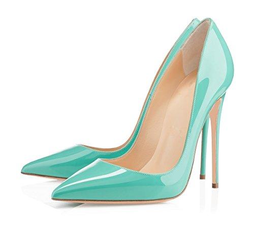 EDEFS Escarpins Femme - Sexy Talon Aiguille - 120mm High Heel Chaussures - Grande Taille Vernis Bleu