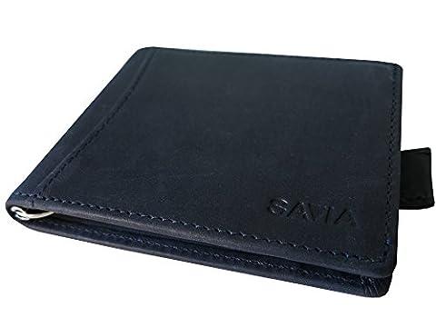 Savia Brieftasche Portemonnaie Farbe blau RFID Mann Handtasche echtes Leder kleines Handwerk
