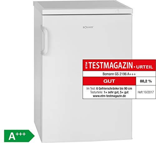 Bomann GS 2196 Gefrierschrank/A+++ / 84.5 cm / 94 kWh/Jahr / 82 L Gefrierteil/Türanschlag wechselbar/Weiß [Energieklasse A+++]