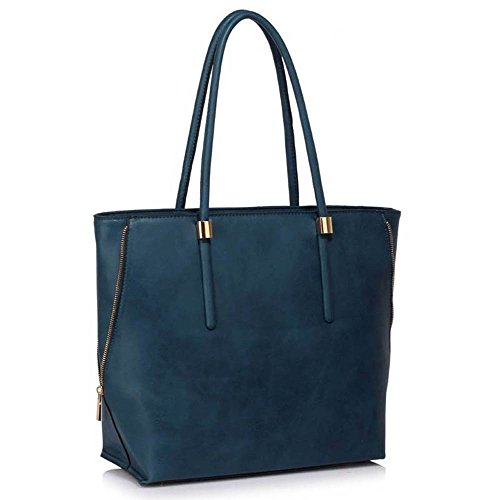TrendStar Damen Handtasche Faux Leder Damen Dekorative Fliege Leinentrage Schultertasche. A - Marine Umhängetasche