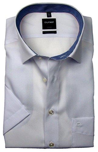 a7ce9825f6ec OLYMP Luxor Modern Fit Hemd Halbarm mit Besatz Muster Weiß Größe 46