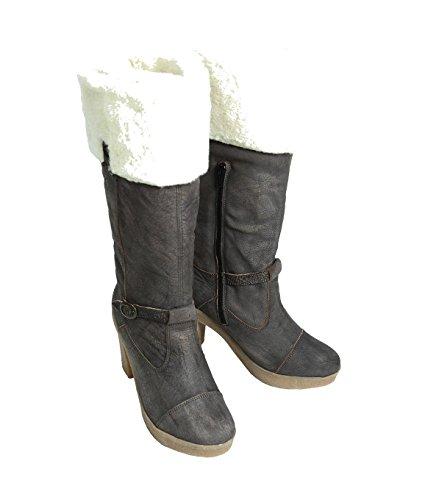 NOBRAND Chaussures hautes Femme Chaussures Bottes Bottines Boots-Cuir-Noir Noir