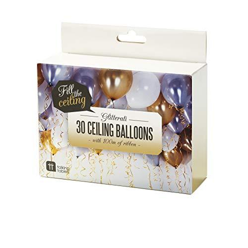 Talking Tables Gold Party, Helium-Ballons und Ringelbänder, Helium -