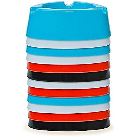 Posacenere portacenere in plastica–4pz–colori: Nero, Bianco, Rosso e azzurro–diametro: 12,0cm–semplice–Cool–economico