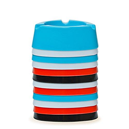 Aschenbecher Ascher aus Kunststoff – Farbe: Hellblau – Durchmesser 12,0 cm – einfach – cool – günstig 5 Stück - 4