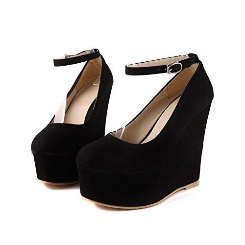 Sapatos Senhoras Fivela Salto Voguezone009 Rodada Puro De Bombas De Toe Alto Preto OpSw5xqA0