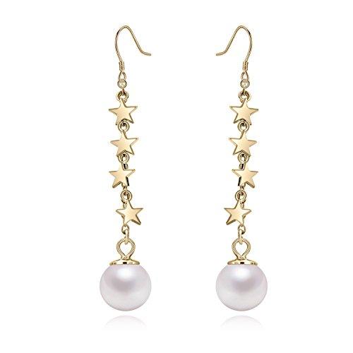 Yan & Lei argento Sterling stelle con 8mm con imitazione perla rotonda Pesce Gancio Orecchini Pendenti, Argento, colore: Golden, cod. 160812-07