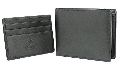 StarHide Herren Weiche Schwarze Echte Leder Brieftasche Mit Mini Kreditkartenhalter Fall (Satz Von 2) - NA11 (Baumwoll-münzen-satz)