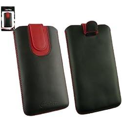 emartbuy Noir/Rouge Étui Coque Case Cover en Cuir PU (Taille 5XL) avec Languette Push Up Adapté pour Klipad KL48PH 3G 6 Pouce Smartphone