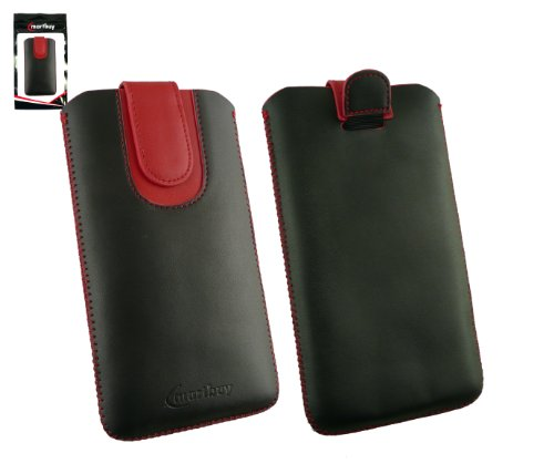 Emartbuy® Schwarz / Rot PU Leder Slide in Hülle Tasche sleeve Halter ( Größe 5XL ) Mit Zuglasche Mechanismus Geeignet Für Padgene R8 Smartphone 6 Zoll