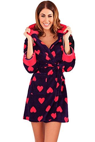 Femmes Imprimé Cœur Pyjama Loungeable Nuisette Peignoir Ou Pyjama Combinaison Polaire Vêtement De Loisirs Imprimé Cœur - Robe de Chambre