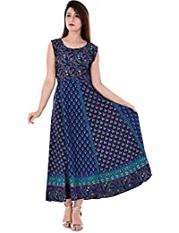 Monique Brand Women's/Girls Cotton Traditional Rajasthani Jaipuri Printed Maternity Summer Long Gown Middi Maxi Dress (MD-BUTY-NB15_UPTO42XL_)