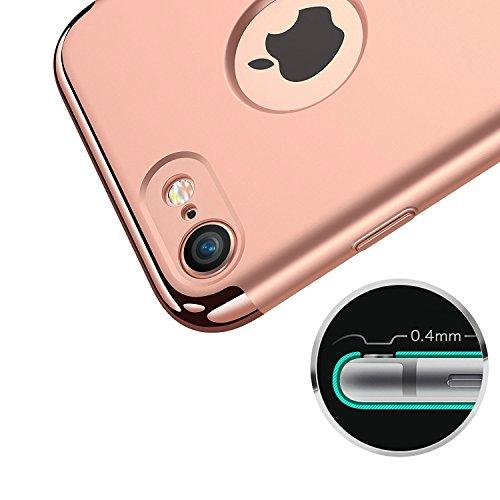 vanki® iPhone 6/6s hülle 3 in 1 Hart PC Tasten Kunstleder Schutzhülle Case Cover Bumper Handyhülle für iPhone 6/6s (4,7 Zoll) (Black) Rose Gold
