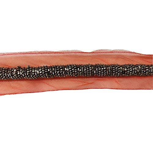 Trimming Shop Damen Orange Spitze Applikation Vintage Style Patch Nieten mit Perlen für Kleider Bordüren, Nähen, T-Shirts, Kleidung, Mode-Accessoires, Kleider Machen -