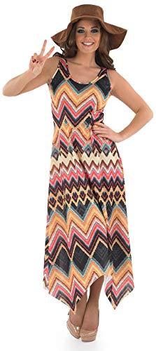 1960 Hippie Kostüm - Fancy Me Damen 1960s Jahre lang Hippie Hippy Maxi & Hut Kostüm Kleid Outfit 8-26 Übergröße - Multi, 8-10