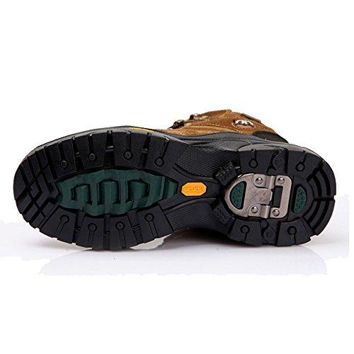emansmoer Herren Wasserdicht Wildleder Fleecefutter Lace-Up Outdoor Footwear Sport Wandern Trail Trekking Schuhe Braun