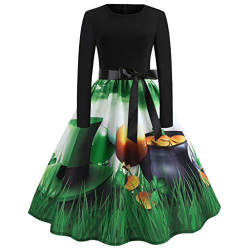 Bovake Damen Printed Langarm Abendkleid Kleid Festlich Party -