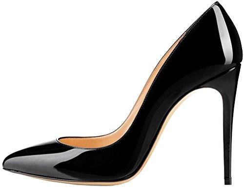 Calaier Femme Caspecial 11CM Western Glisser Sur Escarpins Chaussures Noir