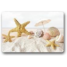 """dearhouse Home cómoda puerta Mats Felpudo, diseño de estrella de mar conchas en la playa antideslizante dormitorio Alfombras de Lovely Durable baño Rugs 23.6""""x15.7"""