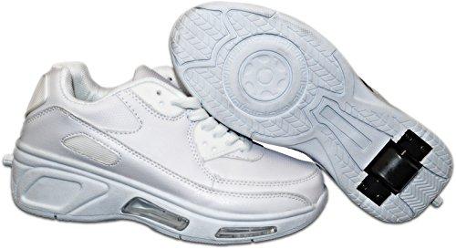 Elara Damen Herren Kinder Rollschuhe Sportschuhe Schuhe mit Rollen Laufschuhe Runners Sneakers 1513-Weiss-31