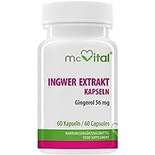 Ingwer Extrakt kapseln - 20% Gingerol = 56 mg - Immunschutz - Magen-Darmgesundheit - Mehr sexuelle Lust - Gegen Reiseübelkeit und Nausea - 60 Kapseln