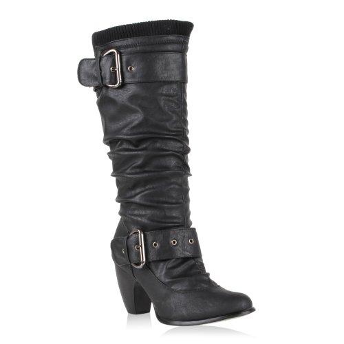 Moderne Damen Stiefel Hochschaft Strick Gr. 36-41 Schuhe 42751 Schwarz Strick 37 Flandell