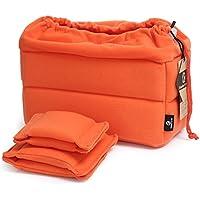 Koolertron - Sac anti-choc pour DSLR SLR caméra appareil photo reflex - par Velvet - pour SONY DSLR Canon Nikon avec objectif (Orange)