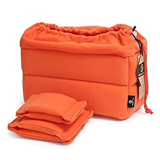413PbfO0OgL. SS324  - Koolertron Padded Shockproof Foldable Partition Camera Insert Protective Bag For SONY Canon Nikon DSLR Shot Or Flash Light-Orange Color