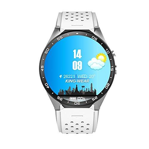KW88 MTK6580 Montres Connectées RAM 512 Mo + 4Go de ROM 3G WIFI Smartwatch Phone Tout-en-un Bluetooth Smart Watch avec GPS?blanc?