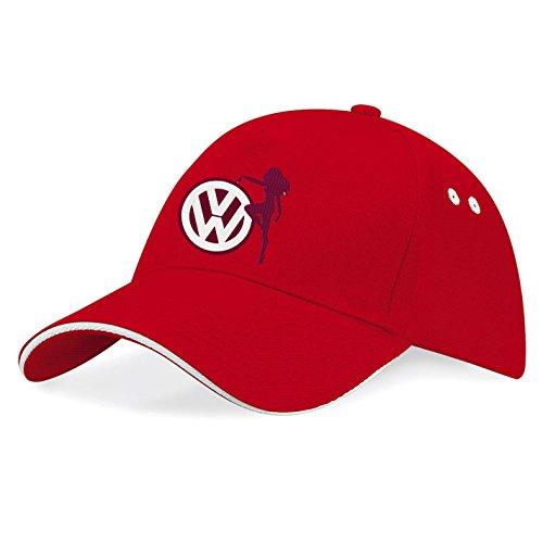 VW Volkswagen Sexy Girl Auto Bestickte Baseball Cap Mütze -k88 (Rot)